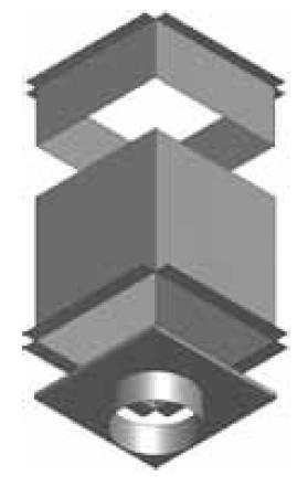 Atrea CPK Cirkulační přechodová komora 375 x 375 ø200 pro rozdělovací komoru s dolním přívodem R144201