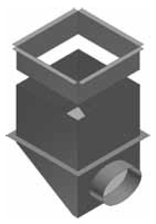 Atrea CPK BN Cirkulační přechodová komora 285 x 285 / ø 125 s bočním napojením  pro rozdělovací komoru s dolním přívodem R144423